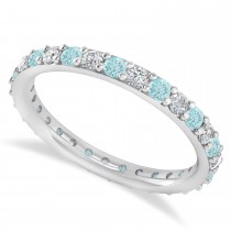 Diamond & Aquamarine Eternity Wedding Band 14k White Gold (0.87ct)