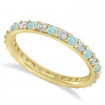 Diamond & Aquamarine Eternity Wedding Band 14k Yellow Gold (0.87ct)