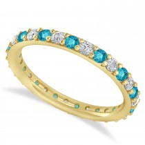 Blue & White Diamond Eternity Wedding Band 14k Yellow Gold (0.87ct)