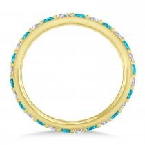Blue & White Diamond Eternity Wedding Band 14k Yellow Gold (0.87ct)