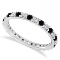 Black & White Diamond Eternity Wedding Band 14k White Gold (0.87ct)