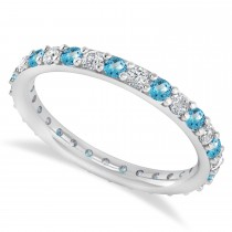 Diamond & Blue Topaz Eternity Wedding Band 14k White Gold (0.87ct)