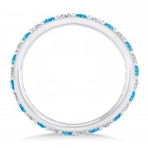 Diamond & Blue Topaz Eternity Wedding Band 14k White Gold (0.87ct)