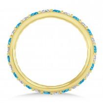 Diamond & Blue Topaz Eternity Wedding Band 14k Yellow Gold (0.87ct)