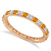 Diamond & Citrine Eternity Wedding Band 14k Rose Gold (0.87ct)