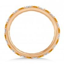 Diamond & Citrine Eternity Wedding Band 14k Rose Gold (0.87ct)