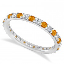 Diamond & Citrine Eternity Wedding Band 14k White Gold (0.87ct)