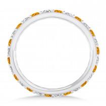 Diamond & Citrine Eternity Wedding Band 14k White Gold (0.87ct)