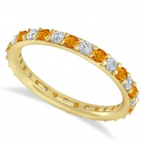 Diamond & Citrine Eternity Wedding Band 14k Yellow Gold (0.87ct)