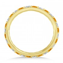 Diamond & Citrine Eternity Wedding Band 14k Yellow Gold (0.87ct)