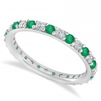 Diamond & Emerald Eternity Wedding Band 14k White Gold (0.87ct)