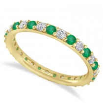 Diamond & Emerald Eternity Wedding Band 14k Yellow Gold (0.87ct)