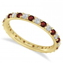 Diamond & Garnet Eternity Wedding Band 14k Yellow Gold (0.87ct)