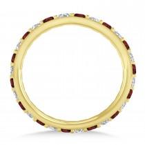 Diamond & Garnet Eternity Wedding Band 14k Yellow Gold (0.87ct)