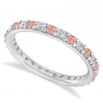 Diamond & Morganite Eternity Wedding Band 14k White Gold (0.87ct)