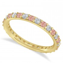 Diamond & Morganite Eternity Wedding Band 14k Yellow Gold (0.87ct)