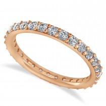 Diamond & Moissanite Eternity Wedding Band 14k Rose Gold (0.87ct)