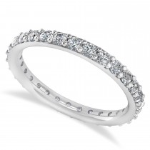 Diamond & Moissanite Eternity Wedding Band 14k White Gold (0.87ct)