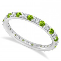 Diamond & Peridot Eternity Wedding Band 14k White Gold (0.87ct)