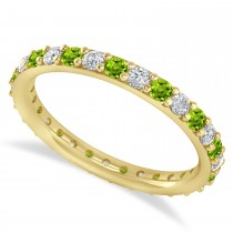 Diamond & Peridot Eternity Wedding Band 14k Yellow Gold (0.87ct)