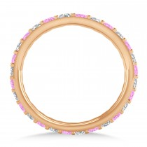Diamond & Pink Sapphire Eternity Wedding Band 14k Rose Gold (0.87ct)