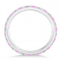 Diamond & Pink Sapphire Eternity Wedding Band 14k White Gold (0.87ct)