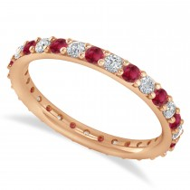 Diamond & Ruby Eternity Wedding Band 14k Rose Gold (0.87ct)