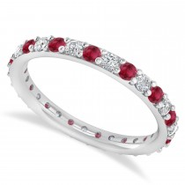 Diamond & Ruby Eternity Wedding Band 14k White Gold (0.87ct)