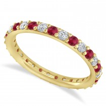 Diamond & Ruby Eternity Wedding Band 14k Yellow Gold (0.87ct)