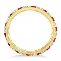 Diamond & Ruby Eternity Wedding Band 14k Yellow Gold (0.87ct)