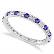 Diamond & Tanzanite Eternity Wedding Band 14k White Gold (0.87ct)