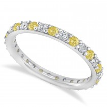 Yellow & White Diamond Eternity Wedding Band 14k White Gold (0.87ct)