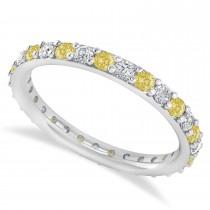Yellow & White Diamond Eternity Wedding Band 14k White Gold (0.87ct)