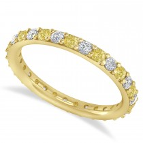 Yellow & White Diamond Eternity Wedding Band 14k Yellow Gold (0.87ct)