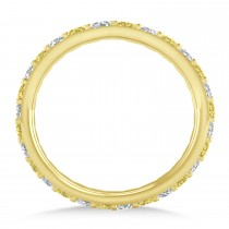 Yellow & White Diamond Eternity Wedding Band 14k Yellow Gold (0.87ct)