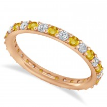 Diamond & Yellow Sapphire Eternity Wedding Band 14k Rose Gold (0.87ct)