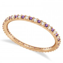 Diamond & Amethyst Eternity Wedding Band 14k Rose Gold (0.25ct)