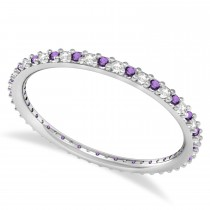 Diamond & Amethyst Eternity Wedding Band 14k White Gold (0.25ct)