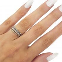 Petite Diamond & Amethyst Eternity Wedding Band 14k White Gold (0.25ct)