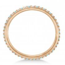 Petite Diamond & Aquamarine Eternity Wedding Band 14k Rose Gold (0.25ct)