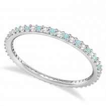 Petite Diamond & Aquamarine Eternity Wedding Band 14k White Gold (0.25ct)