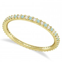 Diamond & Aquamarine Eternity Wedding Band 14k Yellow Gold (0.25ct)