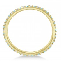 Petite Diamond & Aquamarine Eternity Wedding Band 14k Yellow Gold (0.25ct)
