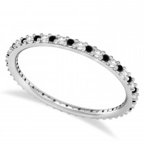 Black & White Diamond Eternity Wedding Band 14k White Gold (0.25ct)