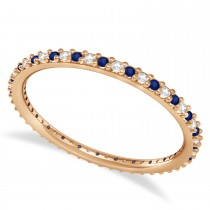 Diamond & Blue Sapphire Eternity Wedding Band 14k Rose Gold (0.25ct)
