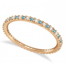 Diamond & Blue Topaz Eternity Wedding Band 14k Rose Gold (0.25ct)
