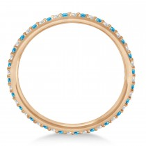 Petite Diamond & Blue Topaz Eternity Wedding Band 14k Rose Gold (0.25ct)