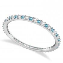 Petite Diamond & Blue Topaz Eternity Wedding Band 14k White Gold (0.25ct)