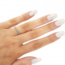 Petite Diamond & Blue Topaz Eternity Wedding Band 14k White Gold (0.25ct)