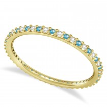 Diamond & Blue Topaz Eternity Wedding Band 14k Yellow Gold (0.25ct)